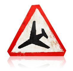 "wooden grungy painted ""low flying aircraft"" road sign"