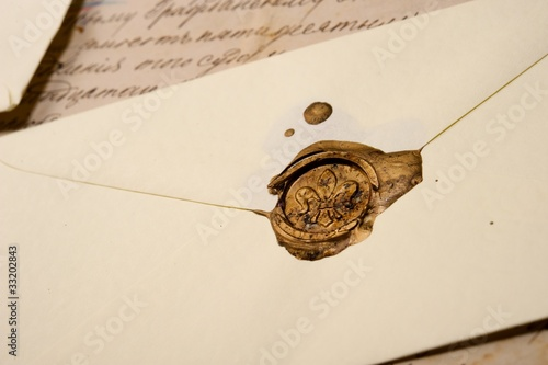 Vintage envelope with wax stamp