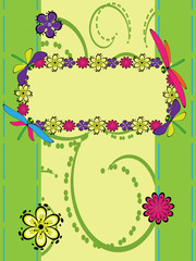 Greeting card with flowers and dragonfly