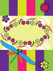 Greeting card with dragonfly and colorful strips