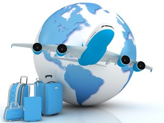 Airplane traffic with a globe and luggage