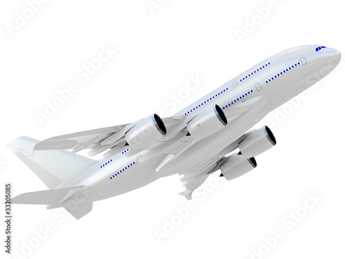 Jet airliner. Isolated on white background.