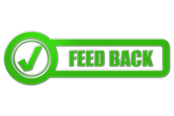 Checkbox Schild grün glas FEED BACK