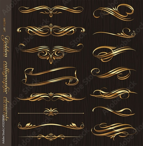 Golden calligraphic vector design elements