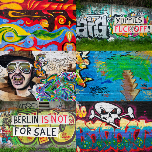 Foto op Canvas Graffiti collage Berlin Graffiti Collage