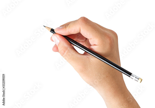 hand holding a pencil - 33209059