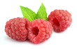 Juicy raspberry with leaves of mint