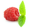 Fresh raspberry with leaves of mint