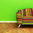 A contemporary colorful sofa in an interior