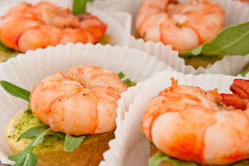 canape with prawn on white tartlet