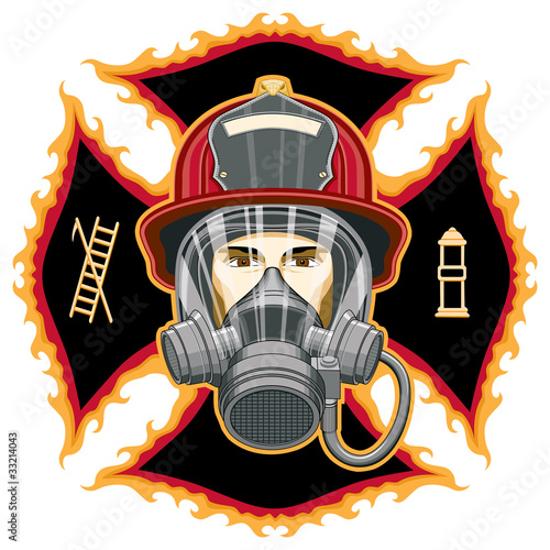 Firefighter with Mask on Cross