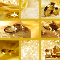 Collage of wedding motives in gold