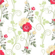 Red and white roses, seamless pattern