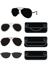 Set of classical sunglasses, Black natural leather cases