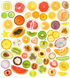 mega set of 56 different fruits and vegetables slices poster