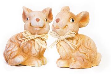 Clay rabbits isolated