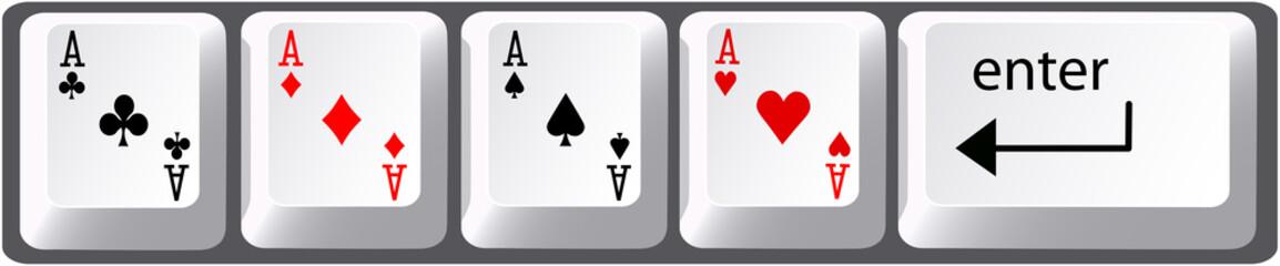 Four aces poker hand computer keyboard keys
