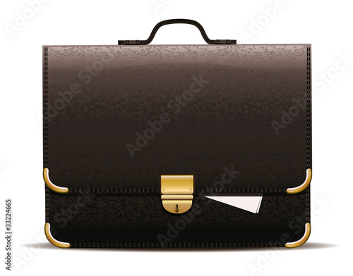 Black leather briefcase.
