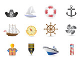 Marine, Sailing and naval icons poster