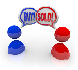 Buy and Sold Speech Bubbles Business People Deal and Transaction