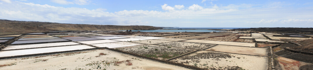 Panoramic View of Janubio salt flats