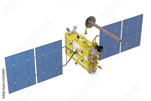Modern navigation satellite isolated on white