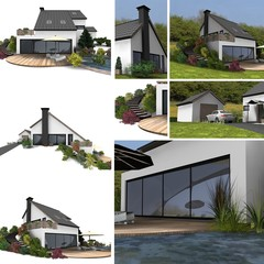 collage of detached house