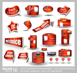 Big set of red sale and advertisement labels