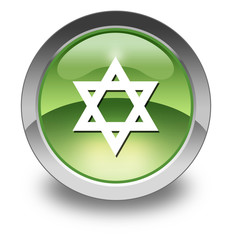 "Green Glossy Pictogram ""Star Of David"""