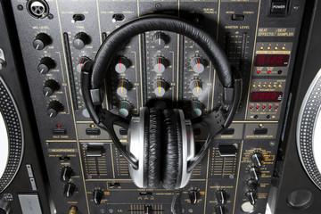 Dj headphones on mixer
