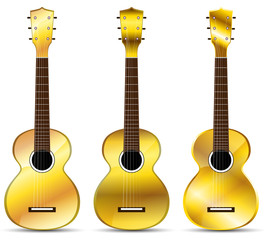 set of golden classical acoustic guitar isolated on white