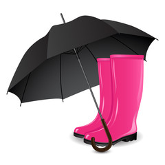 A pair of rainboots and an umbrella