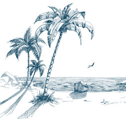 Summer beach with palm trees, seagulls and boat on shore