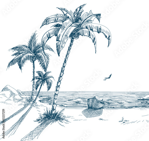 Summer beach with palm trees, seagulls and boat on shore - 33237219
