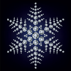 Snowflake made from diamonds.  illustration