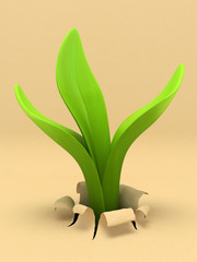 Young sprout and paper 3D rendering