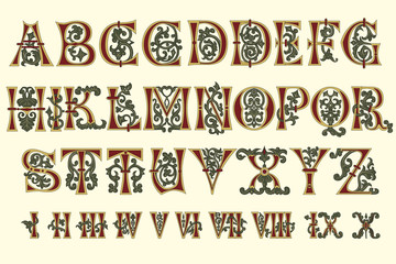 Alphabet Medieval and Roman numerals of the eleventh century