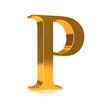 """3d Gold letter """"P"""""""