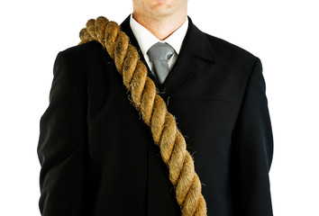 businessman carrying rope