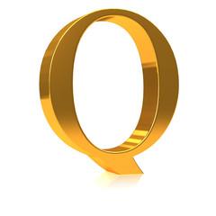 """3d Gold letter """"Q"""""""