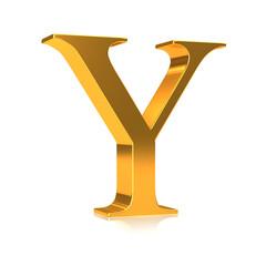 """3d Golden letter """"Y"""""""