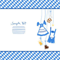 Hanging Octoberfest Symbols & Pattern Blue