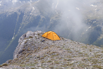 Camping at the top of Greece at Mt. Olympus..