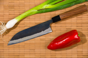 japanese- knife with cooking- ingredient