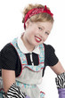 Little Girl Wearing Retro Apron