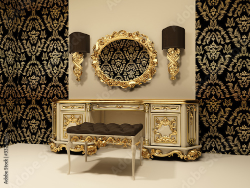 Baroque table with mirror on the wallpaper background
