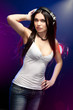 beautiful woman dj wearing headphones
