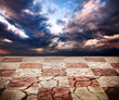 drought earth with chess desk texture