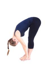 Second step of Yoga surya namaskar janubhalasana