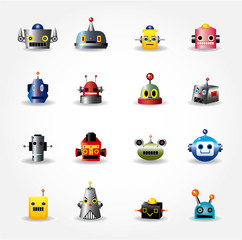 cartoon robot face icon , web icon set -vector